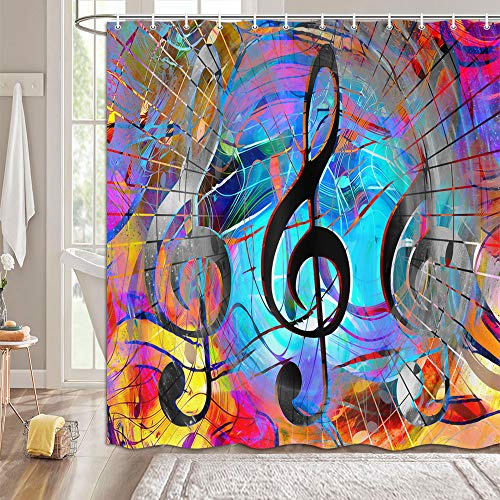 MERCHR Music Note Shower Curtain, Musical Theme Colorful Graffiti Watercolor Art Bathroom Curtains Decor, Cloth Fabric Bathroom Decor Sets with Hooks Machine Washable 69 x 70 inches