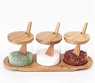 YYAI-HHJU 3 Supports en Bois Ensemble De Fournitures De Cuisine Sel Poivre Bouteille Assaisonnement Pot Conteneur De Stock...