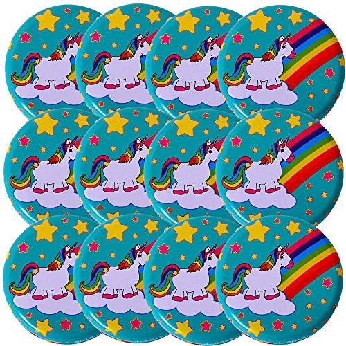 TE-Trend 12 Pezzo Yoyo JoJo Set Motivo Arcobaleno Unicorno Metallo 60mm Bambina Bambini Giocattolo Pensierino Compleanno Bambini