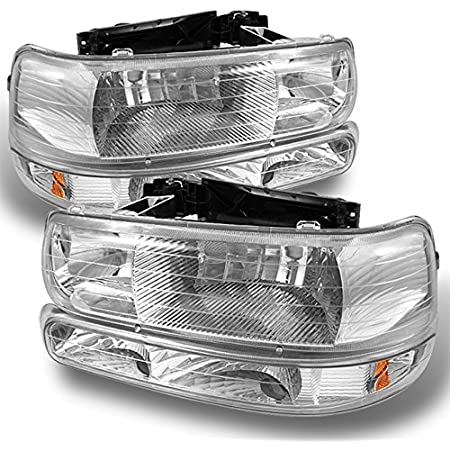 For 2000-2006 Chevy Tahoe 2 Piece Black Housing Headlights Bumper Lamps Combo
