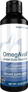 Designs for Health OmegAvail Smoothie - Lemon Drop TG Fish Oil Emulsion, Triglyceride Fish Oil (41 Servings / 16oz)