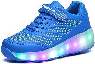 FG21ds21g LED Light Up Roller Single Wheel Skate Shoes for Little Kid//Big Kid Black 39 M EU//6 M US Big Kid
