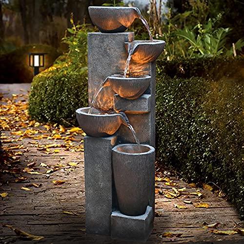 "Gardenfans 5-Tier Outdoor Modern Polyresin Fountain Floor Standing Cascading Fountain with LED Lighting Natural Look Decor for Garden, Patio, Yard, Deck 40""H"