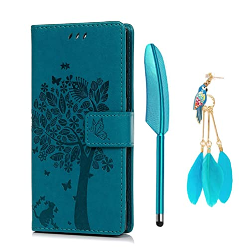 YOKIRIN Sony Xperia XA2 Phone Case, Sony Experia XA2 Cases, Tree PU Leather Case Wallet Folio Flip Cover Anti Slip Shockproof Protective Skins with Card Holders TPU Bumper and Dust Plug Blue