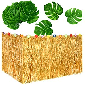 Jackcell Luau Grass Table Skirt 9ft for Hawaiian Party, Moana Theme Tropical Birthday Party Babyshower Decorations Supplies,Drop artificial Table Skirt with 12 pcs Tropical Palm Leaves (Grass Yellow)