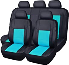 CAR PASS Skyline PU Leather CAR SEAT Covers - Universal FIT for Cars,SUV,Vehicles (11PCS, Mint Blue)