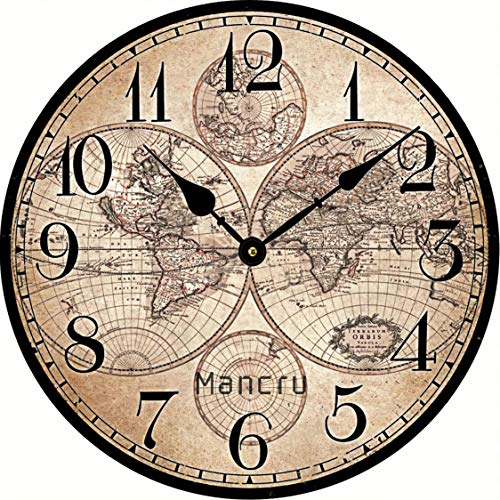 SAMGU 1CM d'épaisseur Horloge Murale Ronde Grande Taille en Style Vintage muet Horloge Murale 1-40cm diamètre