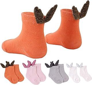 Tianhaik, 4 pares bebé recién nacido alas de ángel calcetines de tobillo calcetines de algodón peinado suave