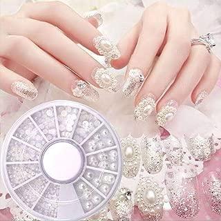 SweetyGR Nail Art Semicircular Pearl Jewelry Decoration Bridal Stick Nail Milk-White