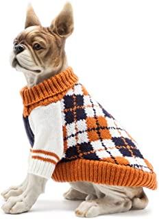 Scheppend Dog Sweater Pet Cat Festive Winter Knitwear Warm Clothes Diamond Plaid Turtleneck Sweaters Puppy Soft Sweatshirt for Small Medium Dogs
