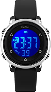 BesWLZ Kids Outdoor Sport LED Digital Electrical Luminescent Waterproof Alarm Children Dress Wrist Watch with LED Alarm Stopwatch for Boys Girls