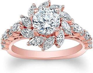 Floweworld Luxus Diamant Ring Kreative Design Sun Flower Diamant Zirkon Rose Gold Damen Ring Schmuck Geschenk für Damen