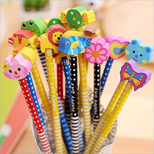Parteet Birthday Party Return Gifts - Pack of 12 Extra Dark High Quality Pencils with Eraser for Kids - Assorted Designs(Made in India)