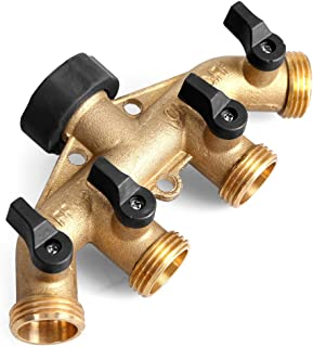 GLORDEN Heavy Duty Brass 4 Way Hose Manifold Garden Hose Splitter Connector with Comfort Grip(Give Away 7 Small Accessories)