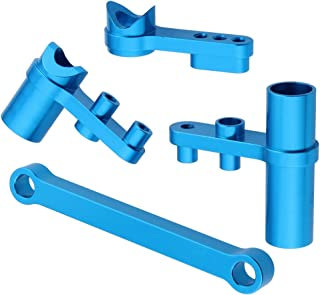 Hobbypark 122057 Aluminum Servo Saver Complete Set Ackerman Plate Blue for Exceed RC HSP Redcat Shockwave Tornado Epx (PRO) S30 Volcano Epx (PRO) S30 1/10 Upgrade Parts 02025 Buggy Truck