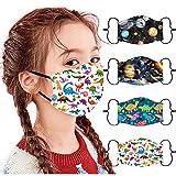 4 Stück Kinder Outdoor Baumwolle Mundmasken Staubdichte Gesichtsmasken Wiederverwendbar Mundschutz Multifunktionstuch 3D Cartoon Bedruckte Bandana für Jungen und Mädchen (B-06, Free Size)
