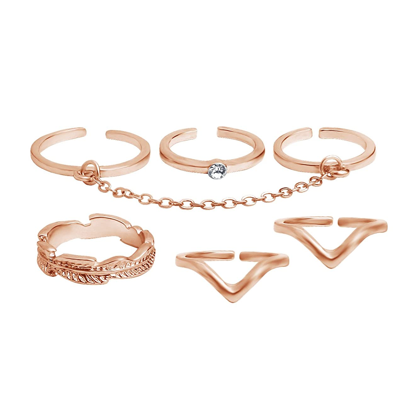 Coucouland 6pcs Stack Rings Leaf V Rhinestone Joint Rings Knuckle Nail Ring Set