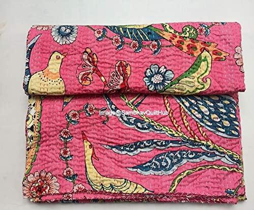 Sambhav 待望 Quilt Hub 特別セール品 Pink Handblock Cotton Ka Animal Handmade Print