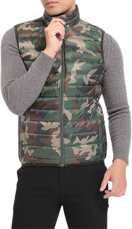 PEHMEA Men's Outdoor Warm Stand Collar Full Zipper Sleeveless Quilted Down Puffer Vest Jackets