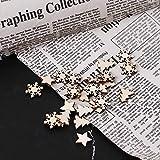 Koobysix 50 Stücke Holz Verschönerung Holz Schneeflocke Stern Baum Winter Festival Weihnachten Form Handwerk Tischdeko,Hochzeitdeko Streudeko DIY Handwerk Verzierungen Naturholzscheiben - 7