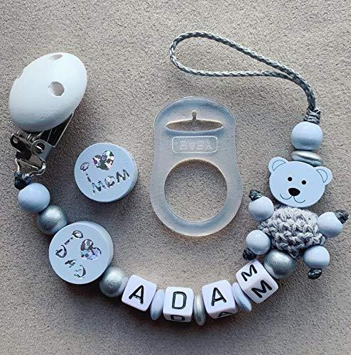 Wunderschöne Schnullerkette Mit Namen In Pastellblau.Imom&Dad Süsser Teddy personalisierte Baby Geschenk