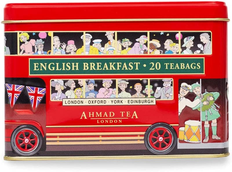 Ahmad Tea London Bus Tin, English Breakfast, 20 Count Tin