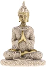 Sandstone Meditation Sitting Buddha Statue, Seated Sculpture Hand Carved Figurine, Indoor Living Room Bedroom Decoration G...