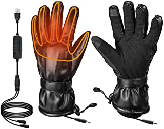 Heated Gloves for Men Fingers Hands Warmer for Ski Motorcycle Hiking Hunting Electric Heated Gloves Windproof for Winter Powered by USB Power Bank Battery(Not Include Battery) (S)