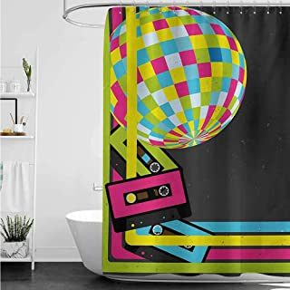 Bath Shower Curtain,Popstar Party Retro Party Theme Disco Ball 80s Style Audio Cassette Tapes Colorful Stripes,Shower Hooks are Included,W48x84L,Multicolor