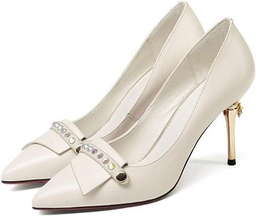 Élégant Pointu Toe Pompes De Fête De Mariage Bureau En Cuir Stiletto Chaussures Les Les dames Haut Talon Partie Court Chaussures (Noir Beige)