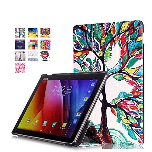 WindTeco ASUS ZenPad 10 Hülle, Ultra Dünn Leder Schutzhülle mit Auto Aufwachen/Schlaf Funktion für ASUS Zenpad 10 Z301MFL / Z2301ML / Z300M / Z300C / Z300CG / Z300CL Tablet, Glück Baum