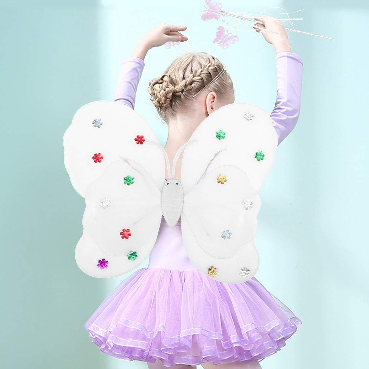 Amosfun - Disfraz de Hada para niña con Luces LED, diseño de alas ...