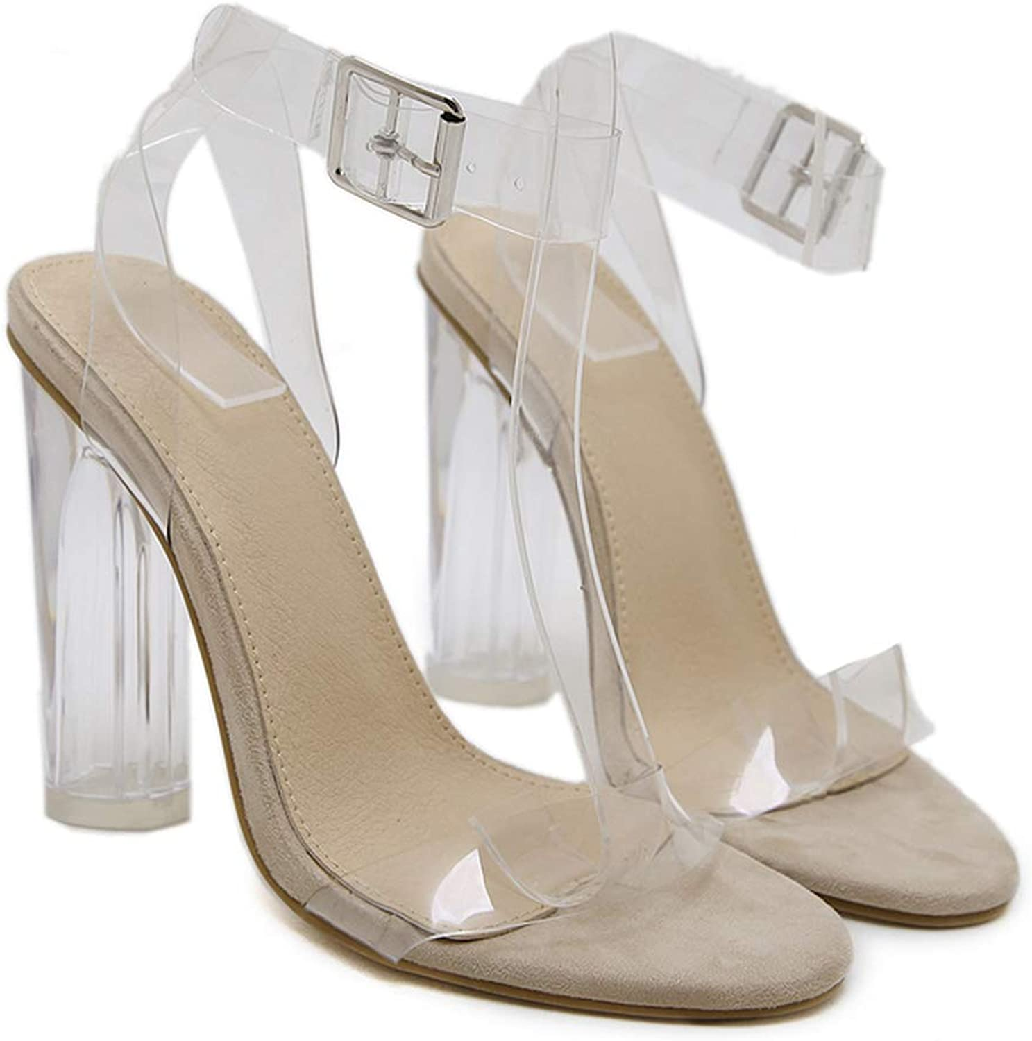 LAIGEDANZI Transparent Heels shoes Woman Summer Clear Heels Women Sandals Ankle Strap High Heels shoes