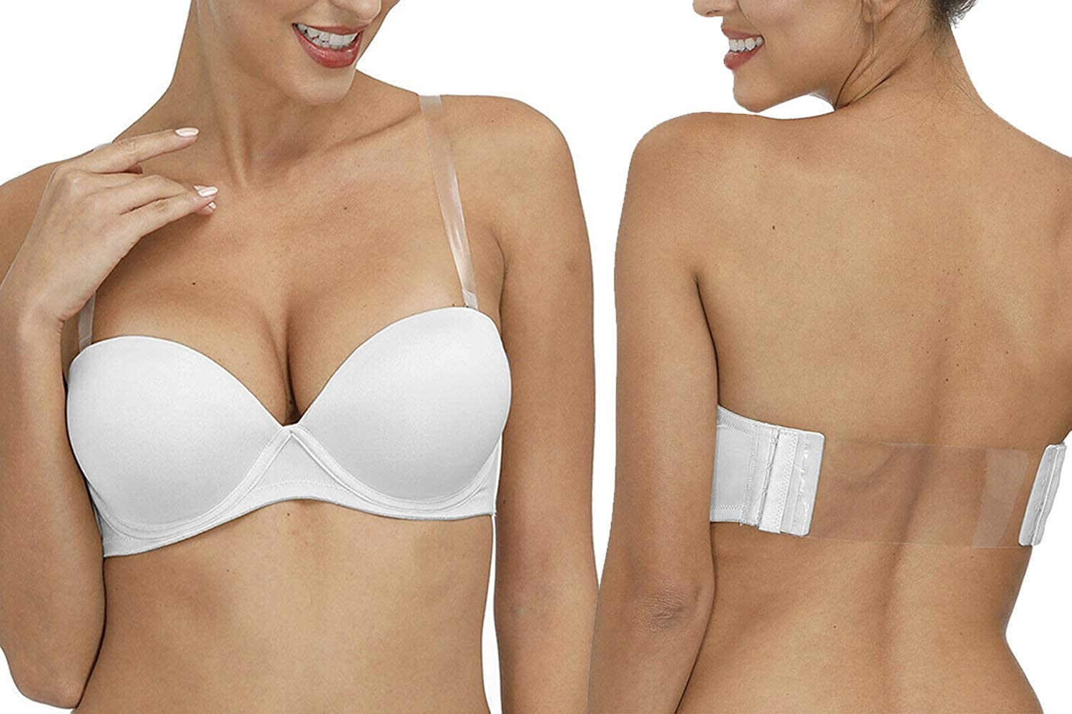 Vogue's Secret Women's Strapless Convertible Push Up Bra Padded Clear Backless Bras with Invisible Straps