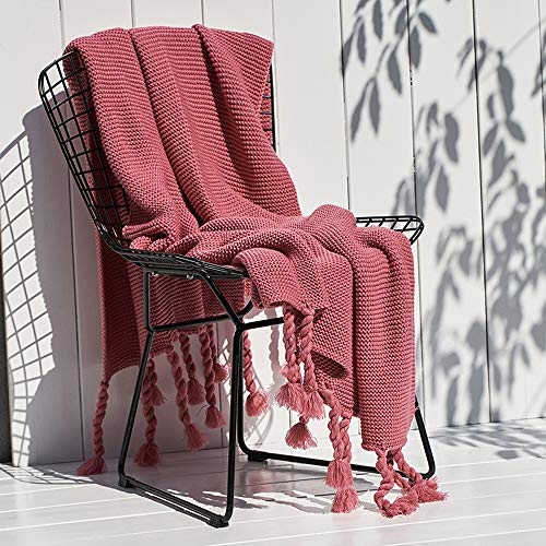 FGDSA Manta para sofá de punto, manta de microfibra superior peinada para la siesta de otoño e invierno, manta de sofá súper cálida para el ocio, manta de aire acondicionado, manta de punto con borla
