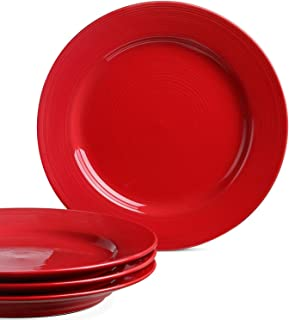 Le Tauci Dinner Plates set, 10 Inch Ceramic Plates,Set of 4 True Red