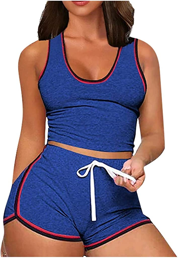 iQKA 2 Piece Outfits for Women, Sleeveless Split Sportswears Set Jogger Shorts Set Casual Crop Top + Shorts Tracksuit