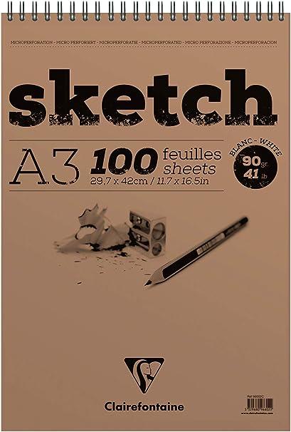 80 Sheets Clairefontaine GrafIt Sketch Book A5 90g Dot-Black Cover Libro de bocetos Blanco