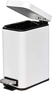 Homcom Poubelle rectangulaire compacte en acier avec couvercle silencieux et couvercle à pédale avec poubelle Blanc 5 l