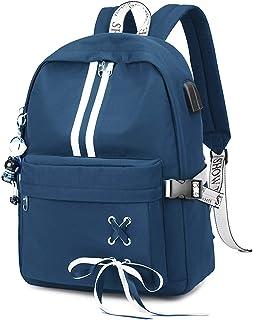 FANDARE Leuchtend Schulrucksack Schultasche Schulranzen Mädchen Rucksäcke mit USB Teenager Tagesrucksack Reise Daypacks Damen 15.6 Zoll Laptop-Tasche Kinderrucksäcke Wasserdicht Polyester Blau