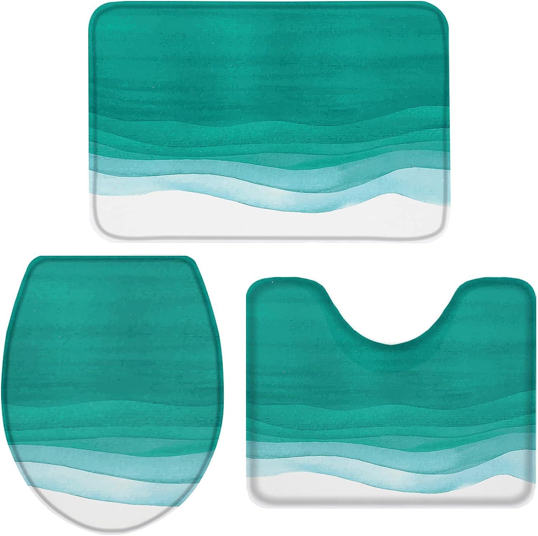 ARTSHOWING Ombre Watercolor Bathroom Rug NEW before selling ☆ Non-Slip 3 Piece B Max 68% OFF Set