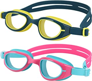 FMU Swim Goggles, 2 Pack Kids Leak Proof Swimming Goggles, 3D Tight Fit Design, Clear Vision Anti Fog UV Protection Silicone Nose Bridge Protection Case Kids Goggles (Age 6-14)