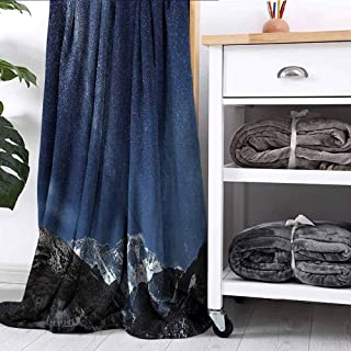FOEYESEE Throw Blanket Himalaya Mountain Tops at Starry Night Time with Stars Earth Cosmos in Northern Lands Blue Grey Bed Sleeping Travel Pets Reading W60 xL51