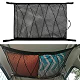 Kartisen Car Interior Ceiling Cargo Net Storage, 31'x23' Car Roof Mesh Organizer with Seat Hook, Double-Layer and Drawstring, Universal for Car SUV (Balck (31'x20.5'))