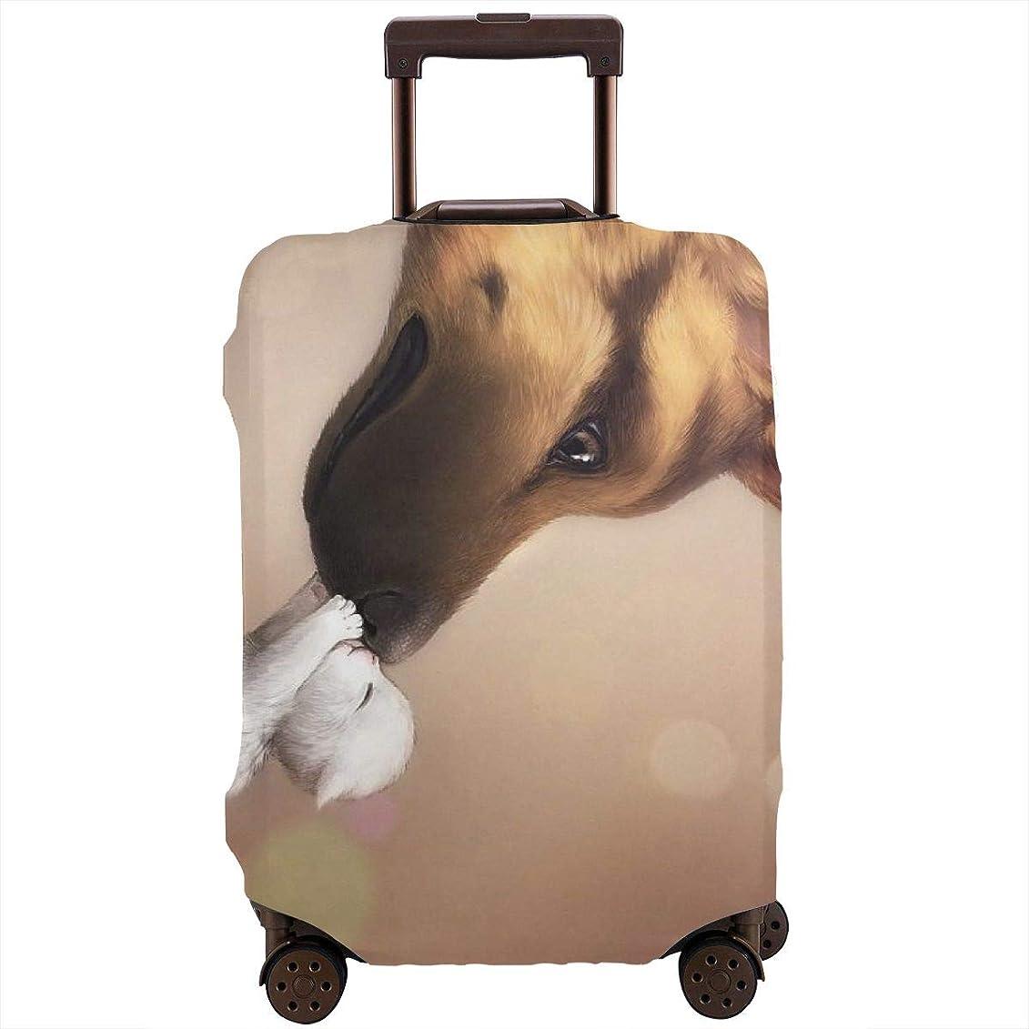 土地飛び込むまっすぐレッドカラー スーツケースカバー ラゲッジカバー キャリーカバー 犬 防塵カバー トランクカバー 旅行用品 トラベルダストカバー
