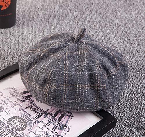 bbzzaa Retro Art Octagonal Hat para Mujer Otoño Invierno Casual Plaid Artist Boinas de Estilo británico Woollen Woman Hats-14