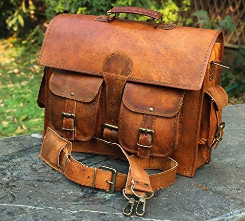 Bolso bandolera de piel y hecho a mano para ordenador portátil, bolso acolchado, mochila escolar (color marrón, 40,6 x 30,4 x 12,7 cm)