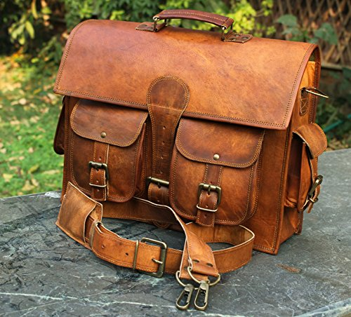 Bolso bandolera de piel y hecho a mano para ordenador portátil, bolso acolchado, mochila...