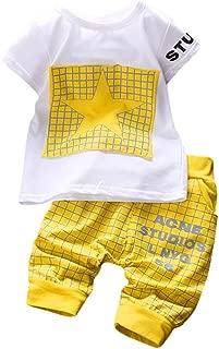 Fanteecy Summer Infant Baby Boy Clothes Outfits Star Print Plaid T-Shirt+Shorts Pants Set