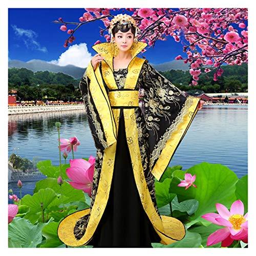 LUOSI Disfraz de reina de tribunal, disfraz de concubina imperial de la dinasta Tang Han, disfraz de escenario antiguo, princesa y mujer (color: negro, tamao: talla nica)